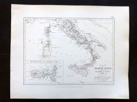Alison & Johnston 1852 Battle Map of South Italy, Invasion of Naples in 1806 etc